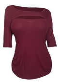 Women's Crew Neck Keyhole Top Burgundy 1761