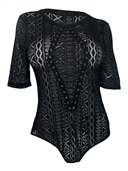 Women's Sexy Lace Up Sheer Bodysuit Black Lace 1761