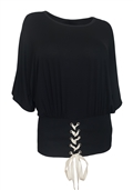 Women's Lace Up Detail Dolman Sleeve Top Black