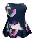 Women's Strapless Peplum Top Navy Floral Print 1761