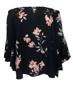 Women's On/Off Shoulder Flared Sleeve Top Black