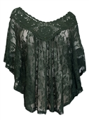 Women's Sheer Crochet Lace Poncho Top Olive Green 1772