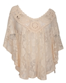 Women's Sheer Crochet Lace Poncho Top Ivory 1772