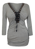 Plus Size V-Neck Lace Up Top Gray 1772