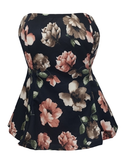 Women's Strapless Peplum Top Black Floral Print 1772