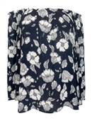 Plus Size Smocked Off The Shoulder Tunic Top Navy Floral