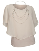 Plus Size Layered Poncho Top Crochet Trim Beige