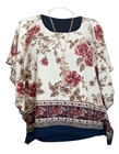 Women's Layered Square Poncho Top Off White Floral Print 1792