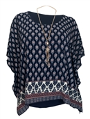 Women's Layered Square Poncho Top Navy Abstract Print 1792