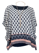 Women's Layered Square Poncho Top White Abstract Print 1792