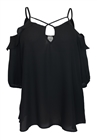 Plus Size Chiffon Criss Cross Strap Off Shoulder Top Black