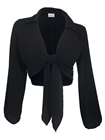 Plus Size Front Tie Off Long Sleeve Cropped Chiffon Blouse Black