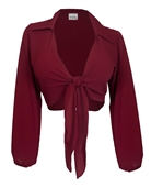 Plus Size Front Tie Off Long Sleeve Cropped Chiffon Blouse Burgundy