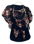 Plus Size Layered Poncho Top Floral Print Navy 17109