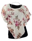 Plus Size Layered Poncho Top Floral Print Off White 17109