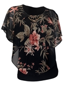 Plus Size Faux Pearl Necklace Layered Poncho Top Floral Print Black 17109