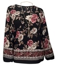 Plus Size Long Sleeve Top Black Floral Print