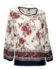 Plus Size Long Sleeve Top White Floral Print