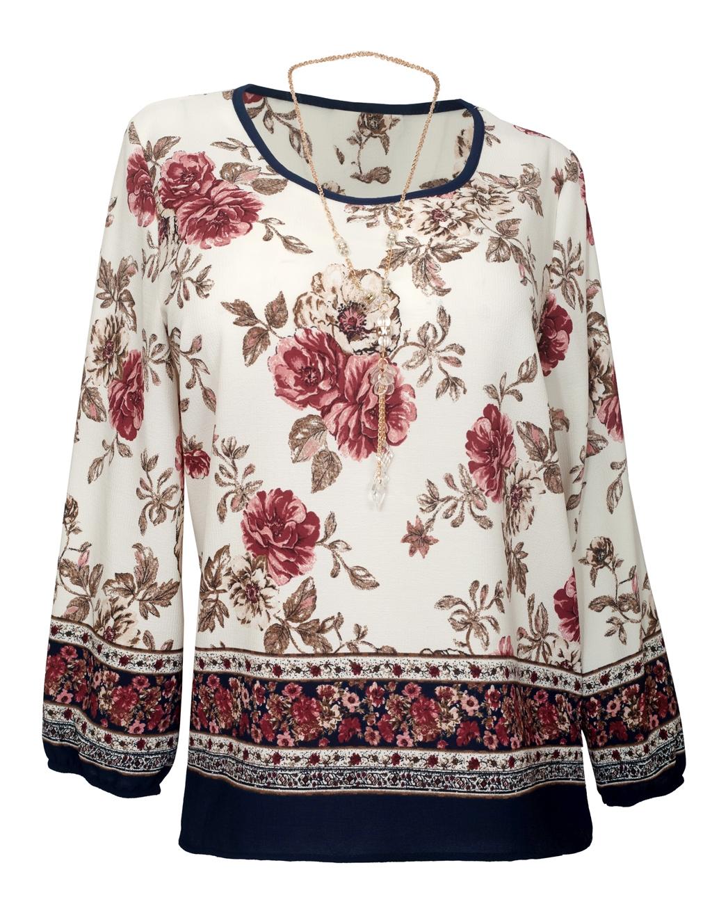 6e348107a Plus Size Long Sleeve Top White Floral Print | eVogues Apparel