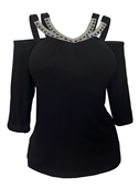 Plus Size Rhinestone Detail Cold Shoulder Top Black