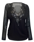 Plus Size Mesh Yoke Sequin Detail Long Sleeve Top Black
