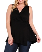 Plus Size Wrap V-Neck Sleeveless Top Black