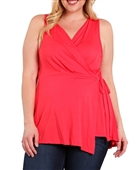 Plus Size Wrap V-Neck Sleeveless Top Coral