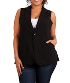 Plus Size V-Neck Vest Black
