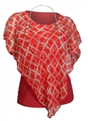 Plus Size Layered Poncho Top Designer Print Coral 18219