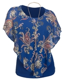 Plus Size Layered Poncho Top Floral Print Blue 18223