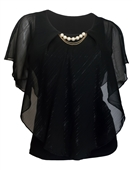 Plus Size Layered Poncho Top with Pearl Pendant Black Glitter Stripe 18223