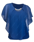 Plus Size Layered Poncho Top with Pearl Pendant Royal Blue Glitter Stripe 18223