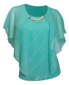 Plus Size Layered Poncho Top with Pearl Pendant Teal Glitter Stripe 18223