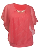 Plus Size Layered Poncho Top with Pearl Pendant Coral Glitter Stripe 18223