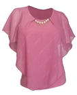 Plus Size Layered Poncho Top with Pearl Pendant Pink Glitter Stripe 18223
