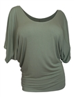 Plus Size Dolman Sleeve Top Sage