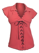 Plus Size Sexy Lace Corset Top Embossed Coral 18329