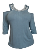 Plus Size Rhinestone Detail Cold Shoulder Top Blue