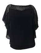 Plus Size Layered Poncho Top Crochet Shoulder Black 18528