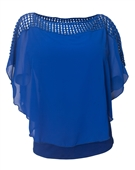 Plus Size Layered Poncho Top Crochet Shoulder Royal Blue 18528