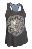 Plus Size Designer Print Racer-Back Tank Top Gray