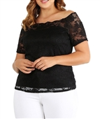 Plus Size Off the Shoulder Lace Top Black