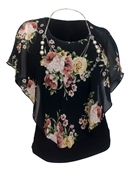 Plus Size Layered Poncho Top Floral Print Black 1889