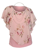 Plus Size Layered Poncho Top Floral Print Pink 1889