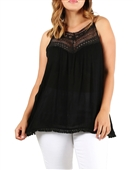 Plus Size Crochet Detail Sleeveless Tunic Top Black