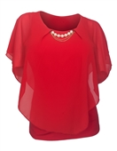 Plus Size Layered Poncho Top Pearl Pendant  Red 18927