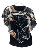 Plus Size Layered Poncho Top Floral Print Black 181019
