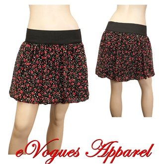 Black Polka Dot Floral Print Plus Size Mini Skirt | eVogues Apparel