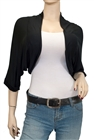 Black Laced Back Cropped Plus Size Bolero Shrug