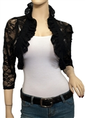 Jr Plus Size Sheer Lace Bolero Shrug Black